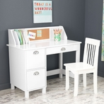 Study Desk with Drawers - White