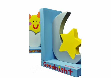 Sun and Moon Wooden Bookends