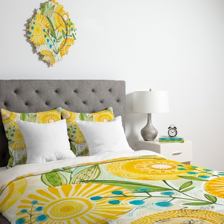 Sun Burst Flowers Duvet Cover