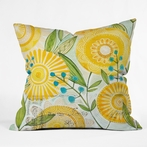 Sun Burst Flowers Throw Pillow