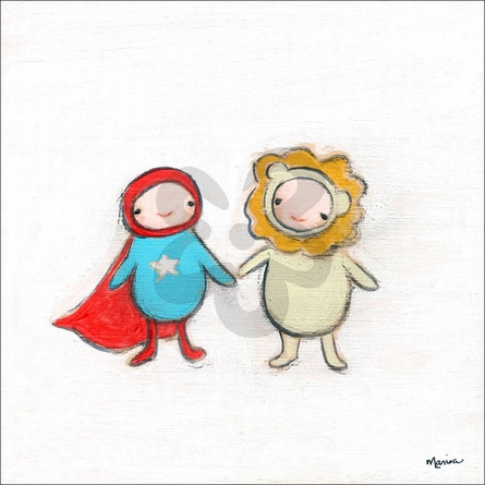 Super Hero And Lion Canvas Wall Art