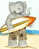 Surfer Elephant Canvas Reproduction
