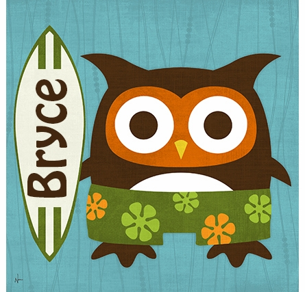 Surfer Owl Canvas Reproduction