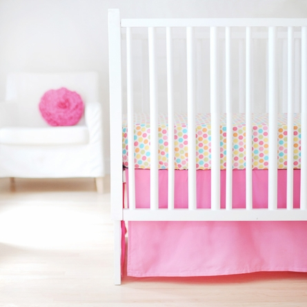 Sweet and Simple Crib Bedding Set in Hot Pink