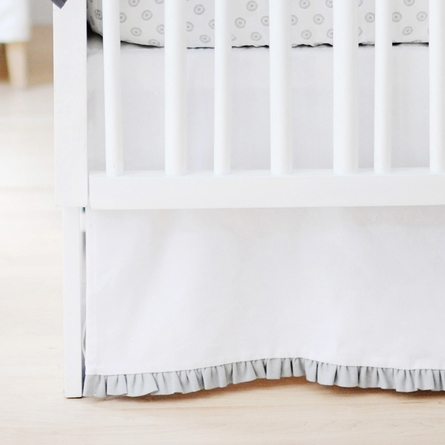 Sweet and Simple Crib Bedding Set in White with Gray Ruffle