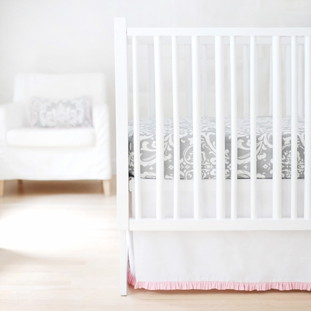 Sweet and Simple Crib Bedding Set in White with Pink Ruffle