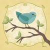 Sweet Birdie in Blue Canvas Wall Art