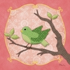 Sweet Birdie in Green Canvas Wall Art