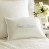 Sweet Dreams Blue Embroidered Boudoir Pillow