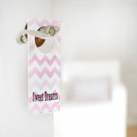 Sweet Dreams Pink Chevron Doorknob Hanger