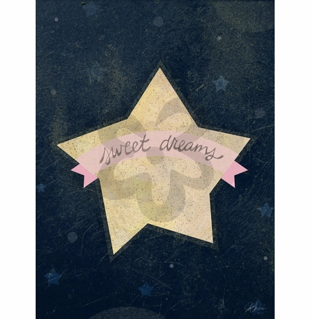 Sweet Dreams Star Pink Canvas Reproduction