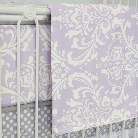 Sweet Lavender Lace Damask Crib Blanket