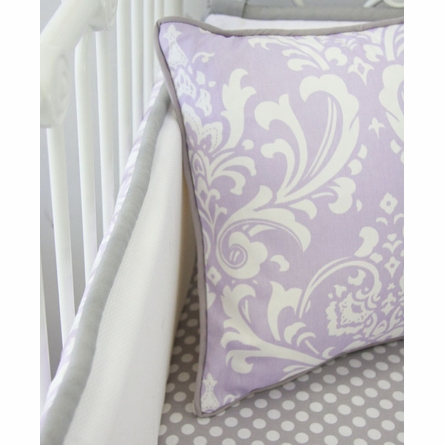 Sweet Lavender Lace Damask Crib Bumper