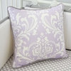 Sweet Lavender Lace Damask Square Throw Pillow