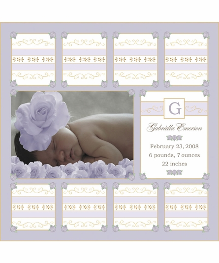 Sweet Roses Canvas Birth Announcement in Lovely Lavender