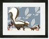 Sweet Skunks Blue Framed Art Print