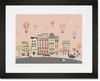 Sweet Street Balloons at Dusk Framed Art Print
