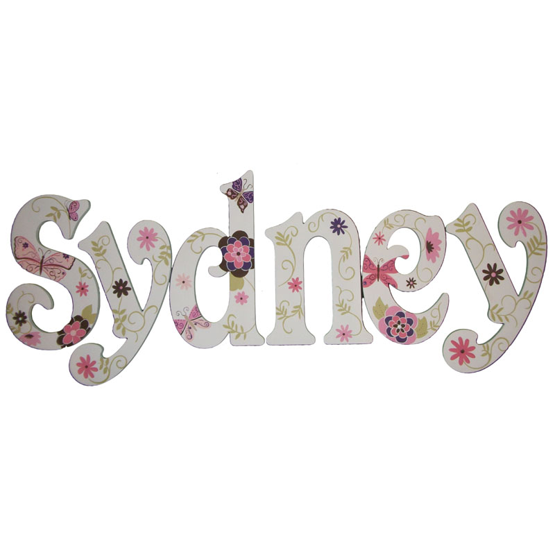 Sydney Floral Butterflies Hand Painted Wall Letters
