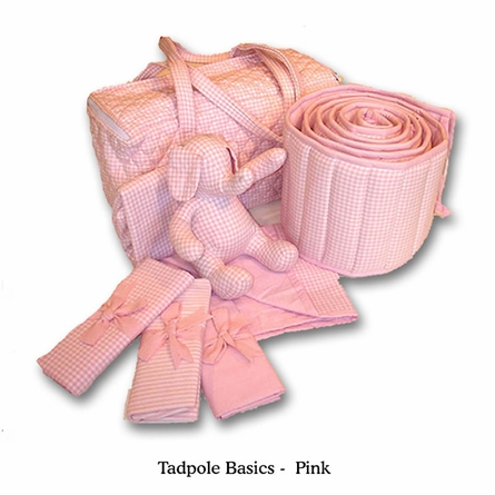 Tadpole Basics Pink Crib Bedding - Seven Piece Set
