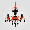 Tahlia Neon Orange Black Crystal Chandelier