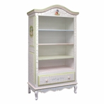 Tall French Bookcase in Tone on Tone Crackle with Enchanted Forest Motif