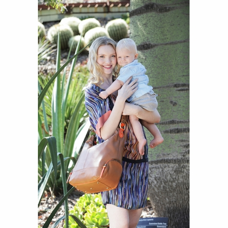 Tan Lamb Leather with Orange Trim Hobo Diaper Bag