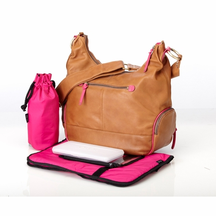 Tan Lamb Leather with Pink Trim Hobo Diaper Bag