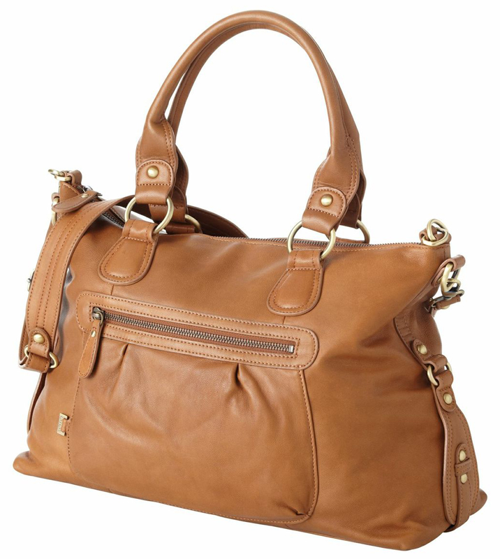 Tan Leather Slouch Tote Diaper Bag by OiOi - RosenberryRooms.com