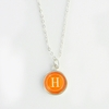 Tangerine Color Personalized Initial Necklace