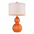 Tangerine Orange Swirled Gourd Ceramic Table Lamp