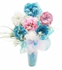 Tastefully Teal Budding Beauty Flower Hat Bouquet