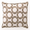 Taupe Mod Link Linen Embroidered Pillow