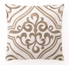 Taupe Tile Linen Embroidered Pillow