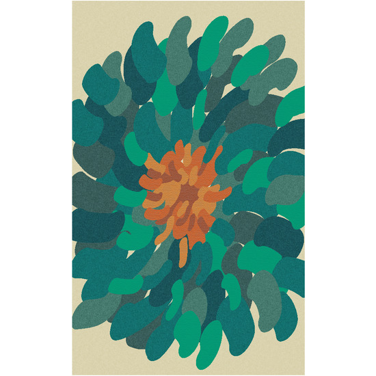 Teal Bombay Flower Rug By Surya