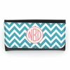 Teal Chevron Monogram Wallet