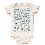Teal Organic Cotton French Bulldog Motifs Original Print Onesie