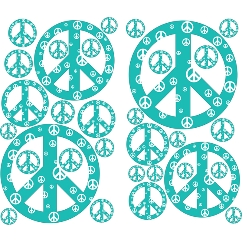 teal peace sign wall sticker by instant murals design peace signs wall stickers girls wall stickers roommates