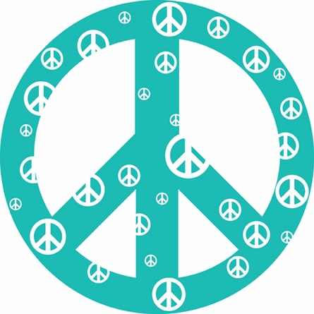 Teal Peace Sign Wall Sticker