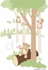 Teddy's Wooded Wonderland II Paint by Number Wall Mural