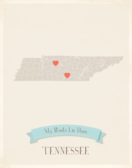 Tennessee My Roots State Map Art Print