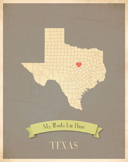Texas My Roots State Map Art Print - Blue