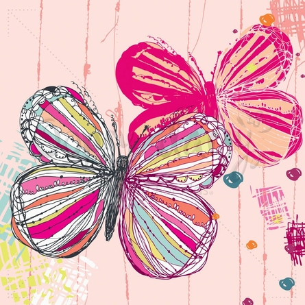 Textured Butterflies Poster Wall Decal