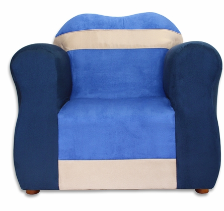The Great Chair in Navy and Blue Microsuede