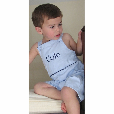 The Hamptons Pinstripe Shortalls in Blue with Navy Trim
