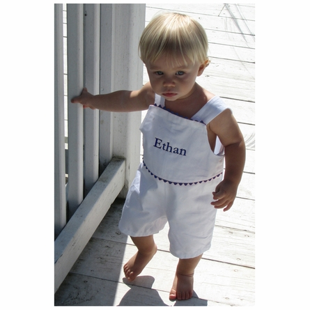 The Hamptons Pique Shortalls in White with Navy Trim