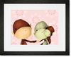 The Monkeys Three Pink Framed Art Print