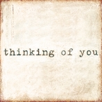 Thinking Of You Small Vintage Art Print on Wood