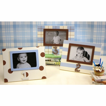 Third Birthday Picture Frame in Blue & Chocolate