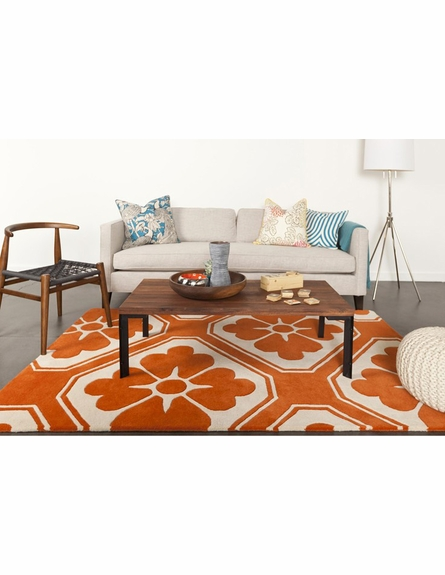 Thomaspaul Modern Floral Rug in Orange