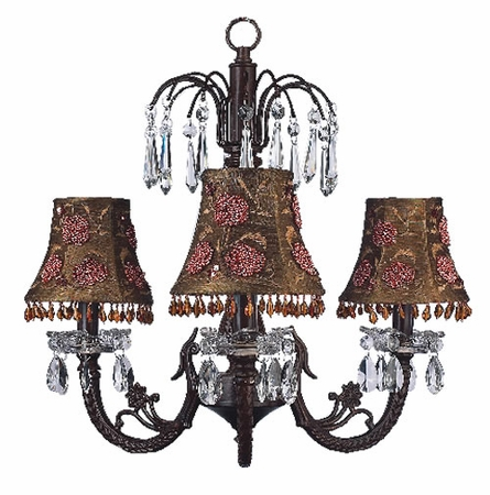 Three Arm Mocha Flower Crystal Chandelier